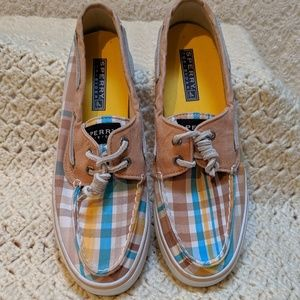 Sperry Topsider womens canvas plaid boat shoes 6.5